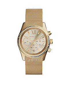 Michael Kors Mid-Size Gold Tone Stainless Steel Mesh Lexington Chronograph Watch