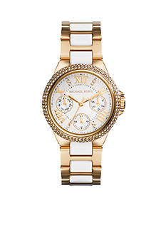 Michael Kors Mini-Size White Acetate and Gold Tone Stainless Steel Mini Camille Chronograph Glitz Watch