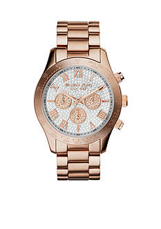 Michael Kors Mid-Size Rose Gold Tone Stainless Steel Layton Chronograph Glitz Watch