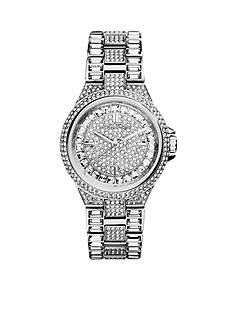 Michael Kors Mid-Size Silver Tone Stainless Steel Camille Three-Hand Glitz Watch
