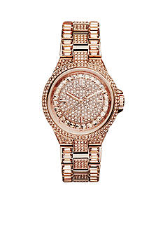 Michael Kors Mid-Size Rose Gold Tone Stainless Steel Camille Three-Hand Glitz Watch