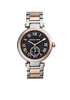 Michael Kors Stainless Steel and Rose Gold Tone Sklyar Black Dial Watch