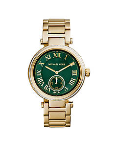 Michael Kors Gold Tone Skylar Emerald Green Dial Watch