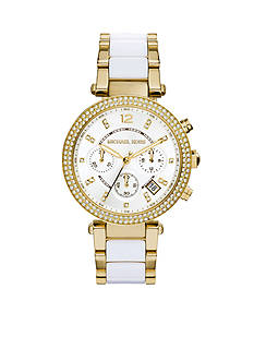 Michael Kors Gold-Tone and White Acetate Parker Watch