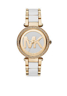 Michael Kors Women's Parker White and Gold-Tone Logo Watch