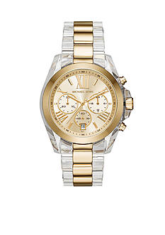Michael Kors Women's Bradshaw Clear Acetate and Gold-Tone Chronograph Watch