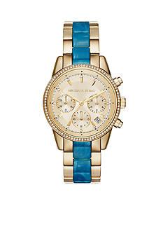 Michael Kors Women's Ritz Gold-Tone and Blue Acetate Chrono Watch