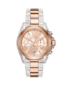 Michael Kors Women's Rose Gold-Tone Bradshaw Clear Acetate Watch
