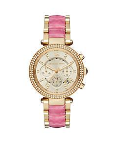 Michael Kors Women's Gold-Tone Parker Pink Acetate Watch