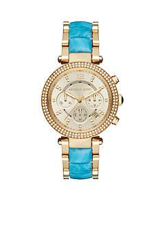 Michael Kors Women's Gold-Tone Parker Teal Acetate Watch