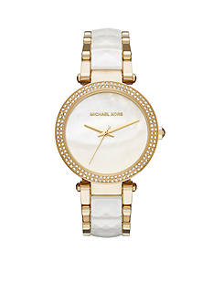Michael Kors Gold-Tone White Parker Watch