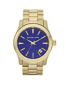 Michael Kors Over-sized Gold Tone Stainless Steel Runway Three-Hand Watch