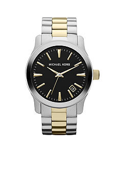 Michael Kors Men's Silver and Gold Tone Stainless Steel Runway Three-Hand Watch