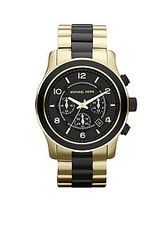 Michael Kors Men's Black and Gold Tone Stainless Steel Runway Chronograph Watch<br>