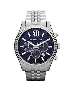 Michael Kors Oversized Silver Tone Stainless Steel Lexington Chronograph Watch