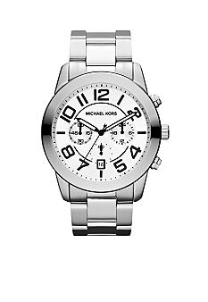 Michael Kors Mens Silver-Tone Stainless Steel Mercer Chronograph Watch