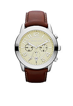 Michael Kors Men's Mahogany Leather and Silver-Tone Stainless Steel Mercer Chronograph Watch