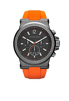 Michael Kors Men's Gunmetal Stainless Steel and Orange Silicone Dylan Chronograph Watch