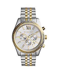 Michael Kors Men's Silver and Gold Tone Stainless Steel Lexington Chronograph Watch