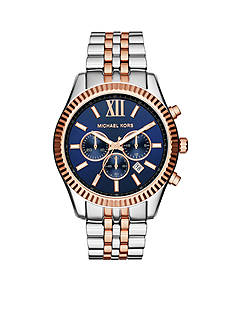 Michael Kors Women's Rose Gold Two-Tone Lexington Navy Dial Watch