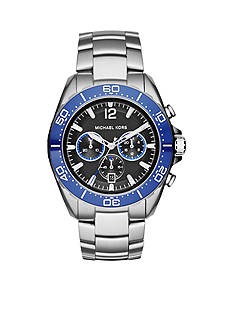 Michael Kors Stainless Steel Windward Watch with a Blue Ceramic Top Ring