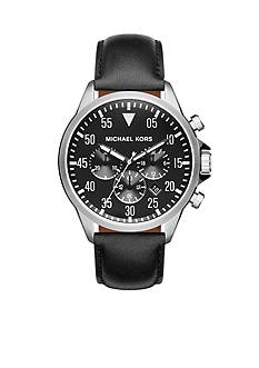 Michael Kors Men's Stainless Steel Gage Black Leather Watch