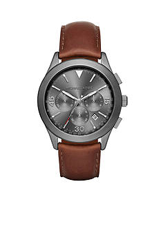 Michael Kors Men's Gareth Gunmetal and Leather Chronograph Watch