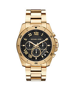 Michael Kors Men's Gold-Tone Brecken Black Dial Watch