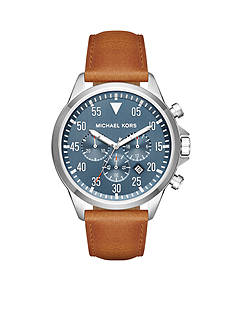 Michael Kors Men's Gage Saddle Leather and Navy Dial Watch