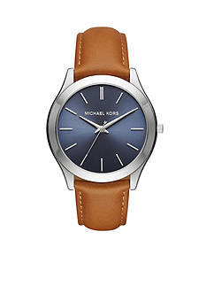 Michael Kors Men's Slim Runway Light Brown Leather Three-Hand Watch