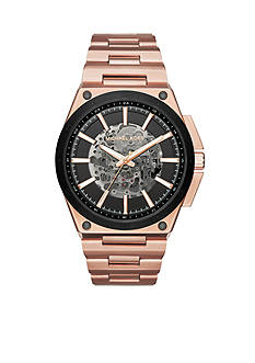 Michael Kors Men's Wilder Rose Gold-Tone Skeleton Automatic Watch