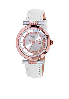 Kenneth Cole Two-Tone White Leather Strap Watch