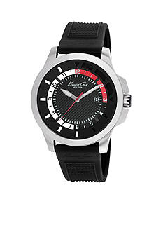 Kenneth Cole Stainless Steel Black Silicone Strap Watch