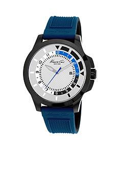 Kenneth Cole Three-Hand Blue Silicone Strap Watch