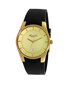 Kenneth Cole Men's Yellow Gold Plated Slim Silicone Watch