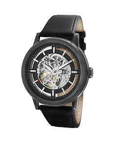 Kenneth Cole New York Men's Automatic Skeleton, Black Dial Leather Strap Watch