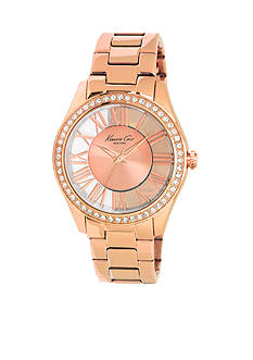 Kenneth Cole Women's Rose Gold Transparent Watch with Crystal Bezel