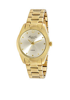 Women's Kenneth Cole New York Gold Rock Out Diamond Dial Bracelet