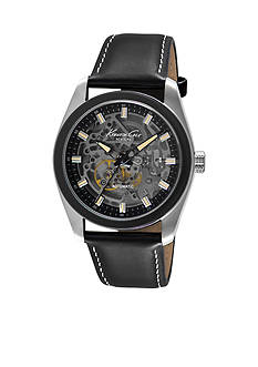 Kenneth Cole Men's Two Tone Gunmetal Automatic Stainless Steel and Black Leather Timepiece Watch