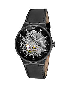 Kenneth Cole Men's Gunmetal and Black Leather Automatic Watch
