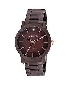 Kenneth Cole New York Watch Men's Diamond Accent Brown Ion-Plated Stainless Steel Bracelet