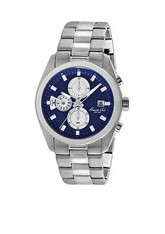 Kenneth Cole Men's Stainless Steel and Blue Multi-Function Watch