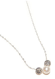 Belk Silverworks Crystal and Pearl Sterling Silver Necklace