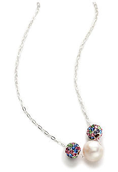 Belk Silverworks Pearl and Crystal Ball Slide Necklace