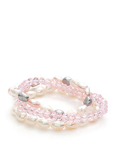Belk Silverworks Pearl and Crystal Three Piece Bracelet Set