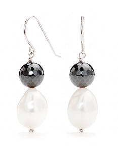 Belk Silverworks Sterling Silver Hematite and Pearl Drop Earrings