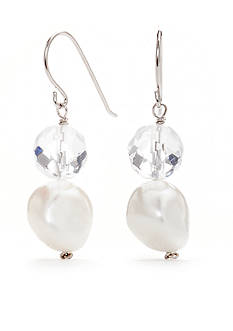 Belk Silverworks Sterling Silver Freshwater Pearl and Crystal Drop Earrings