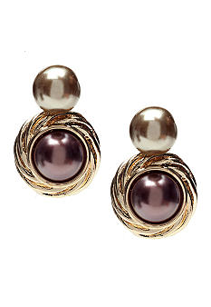 Via Neroli Double Drop Pearl and Gold Pierced Earrings