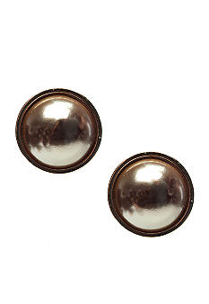 Via Neroli Taupe Pearl Clip Earring Set in Polished Gold