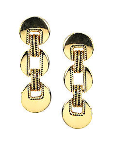 Via Neroli Polished and Textured Triple Drop Gold Pierced Earring